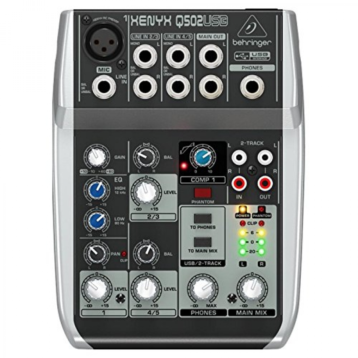 behringer xenyx q502usb premium 5 input 2 bus mixer with xenyx mic preamp compressor. Black Bedroom Furniture Sets. Home Design Ideas