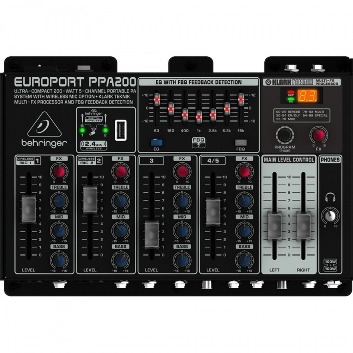 Behringer Europort Ppa 200 Portable Watt 5 Channel Powered Audio Mixer Speaker System 1485873722 2793348 Z 2793349