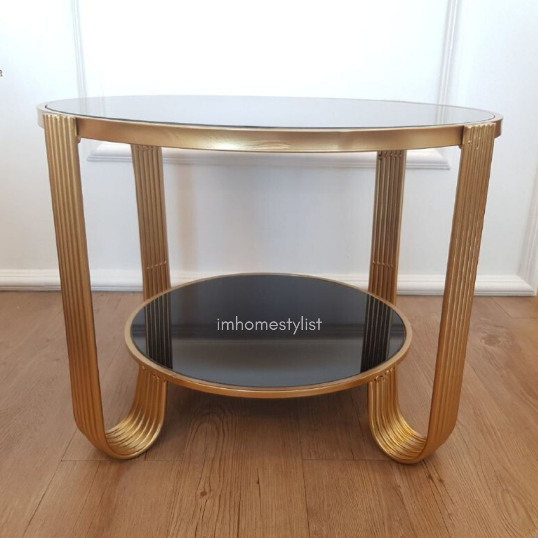 Picture of: Stenzel Gold Round Glass Coffee Table Imhomestylist