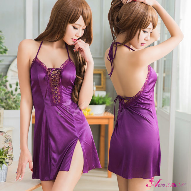 T198 - Sweet purple lace satin Sleepwear & Slip Babydoll