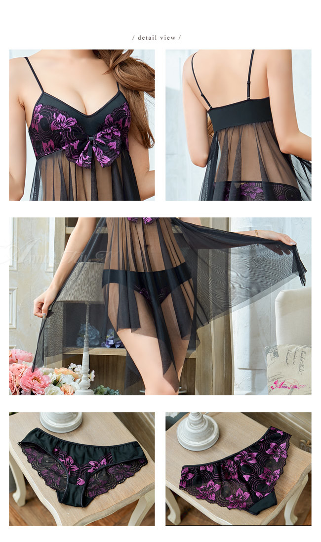 T888 - Perfect girl!Elegance charm purple embroidery lace two-piece Sleepwear & Slip Babydoll