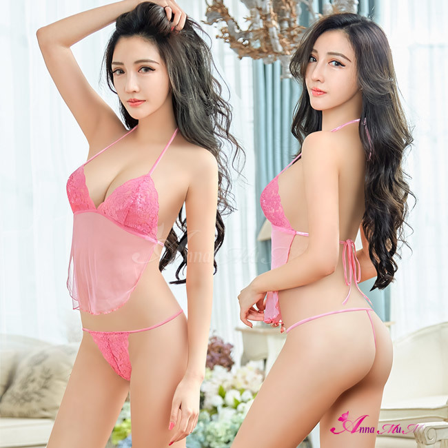 T492 - Pretty Queen!Charm dream pink lace bikini two-piece Bra set