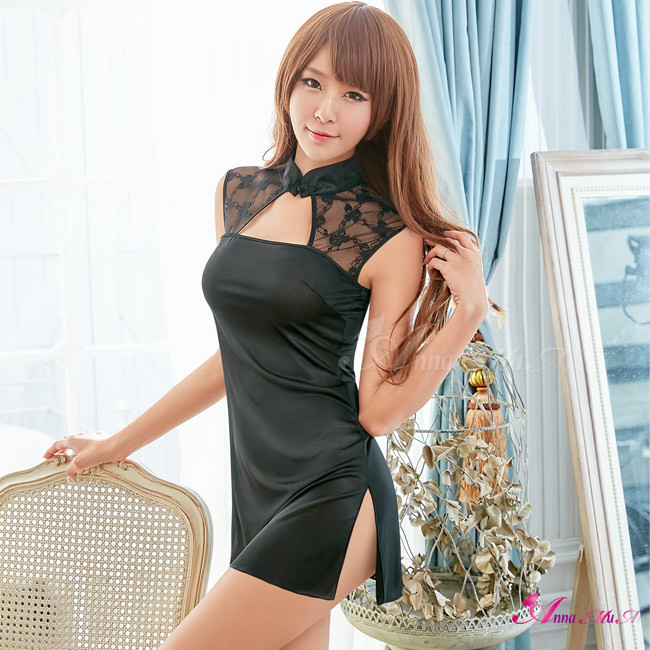 T531 - Pretty beauty!Simple classical black lace Cheongsam Cosplay Costume Set