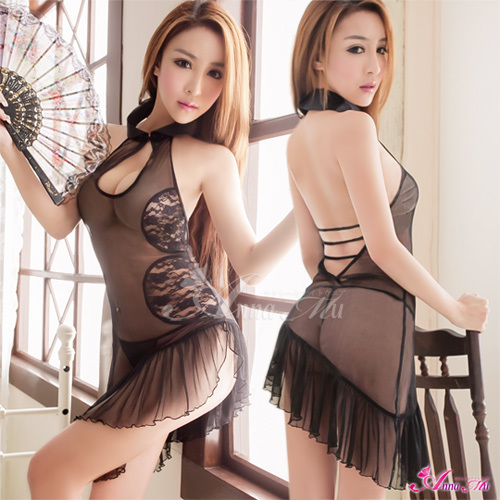 T574 - Black chiffon halter neck enticing chinese cheongsam costume cosplay set