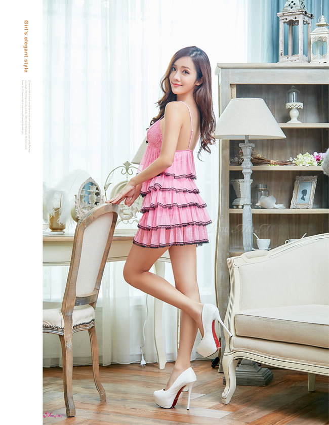 T602 - Charming girl!Perfect romantic sweet Jacquard lace Sleepwear & Slip Babydoll