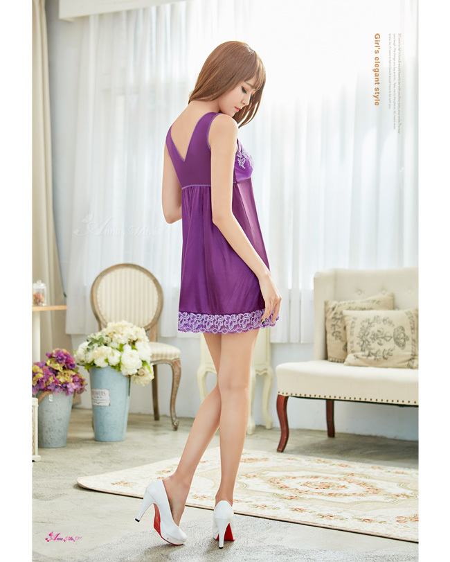 T900 - Romantic girl!Elegant classical purple Jacquard embroidery lace Sleepwear & Slip Babydoll