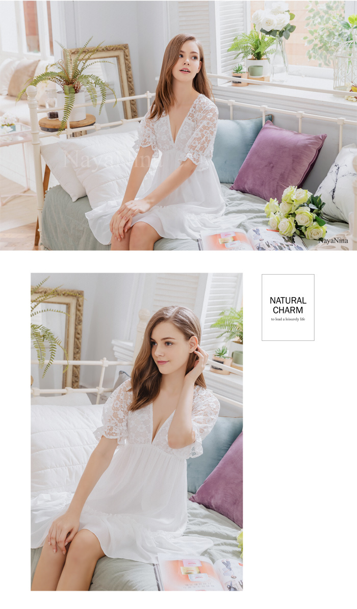 T931 - Dream girl!Elegant sexy charm Jacquard lace V-neck Lingerie & Sleepwear Pajamas Set