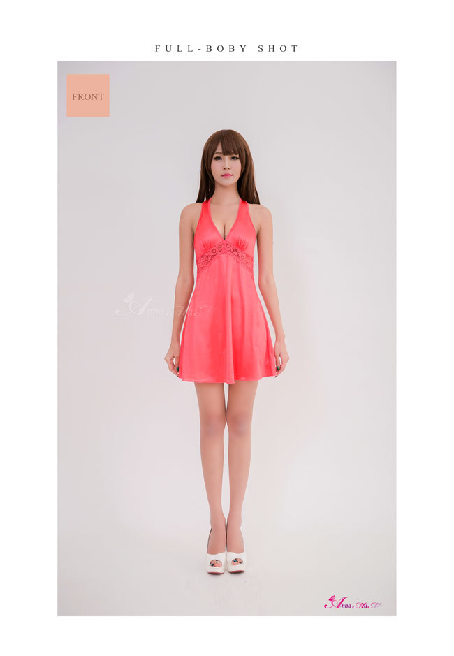 T747 - Charm girl!Simple embroidery satin Sleepwear & Slip Babydoll
