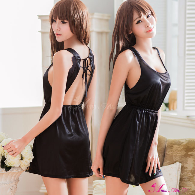 T748 - Elegant girl!Simple embroidery satin Sleepwear & Slip Babydoll