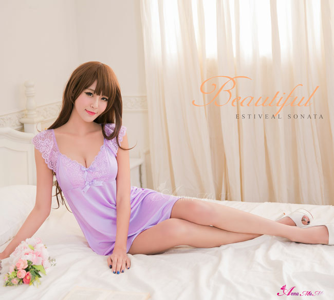 T758 - Elegant girl!Simple Violet soft satin Sleepwear & Slip Babydoll