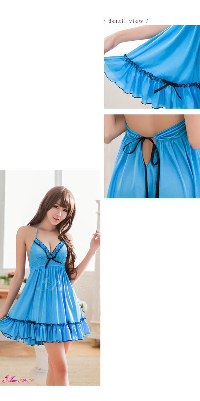 T760 - Romantic girl!Pretty feeling blue satin Sleepwear & Slip Babydoll