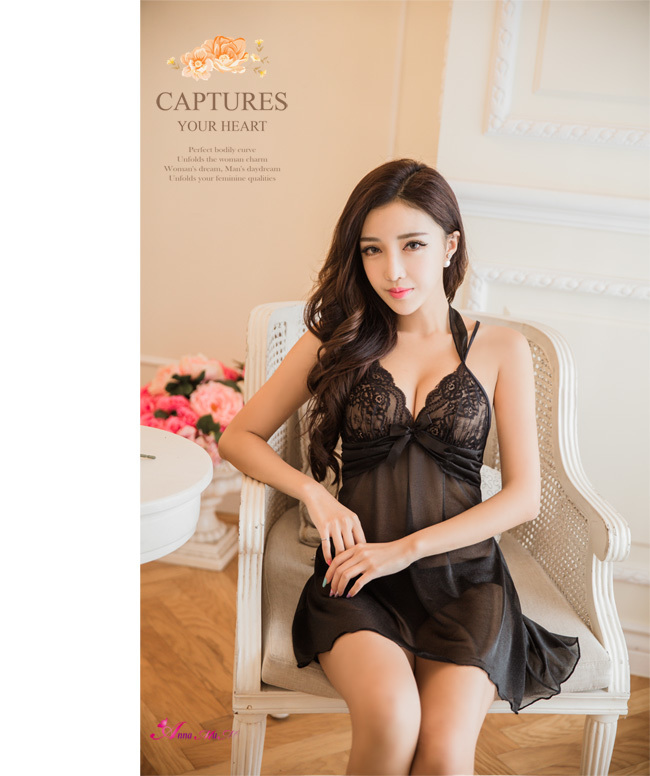 T771 - Perfect Lover!Charming black lace two-piece Sleepwear & Slip Babydoll