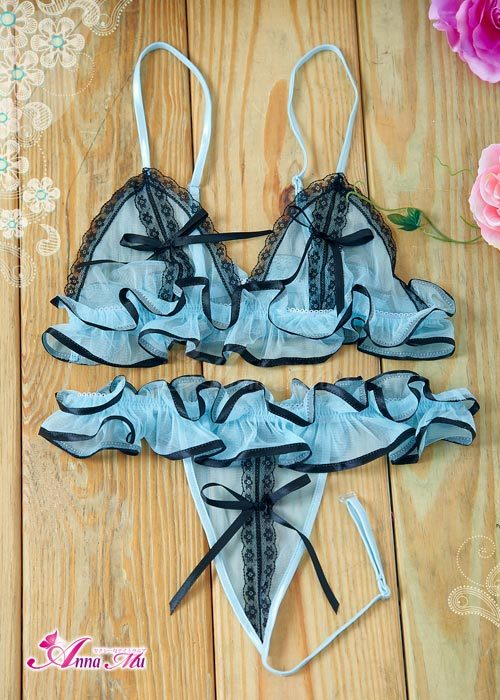 T561 - Blue mesh bikini set featuring lace all around and ruffle details under bust line