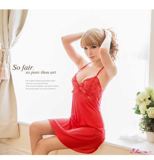 T690 - Red Perfection Lover !! Gorgeous Satin Dress Babydoll Sleepwear