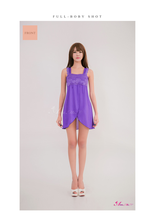 T692 - Purple Lace Two Pcs Babydoll Sleepwear