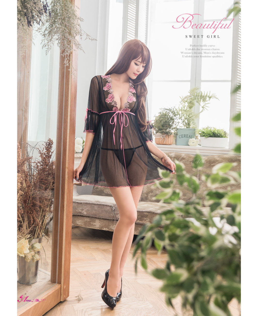 T874 - Beautiful girl!Romantic charm embroidery lace two-piece Sleepwear & Slip Babydoll