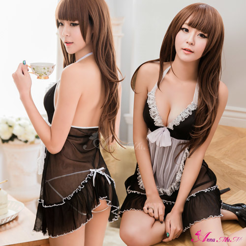 T715 - Soft Lace 2 pcs maid costume babydoll (Pre-Order)