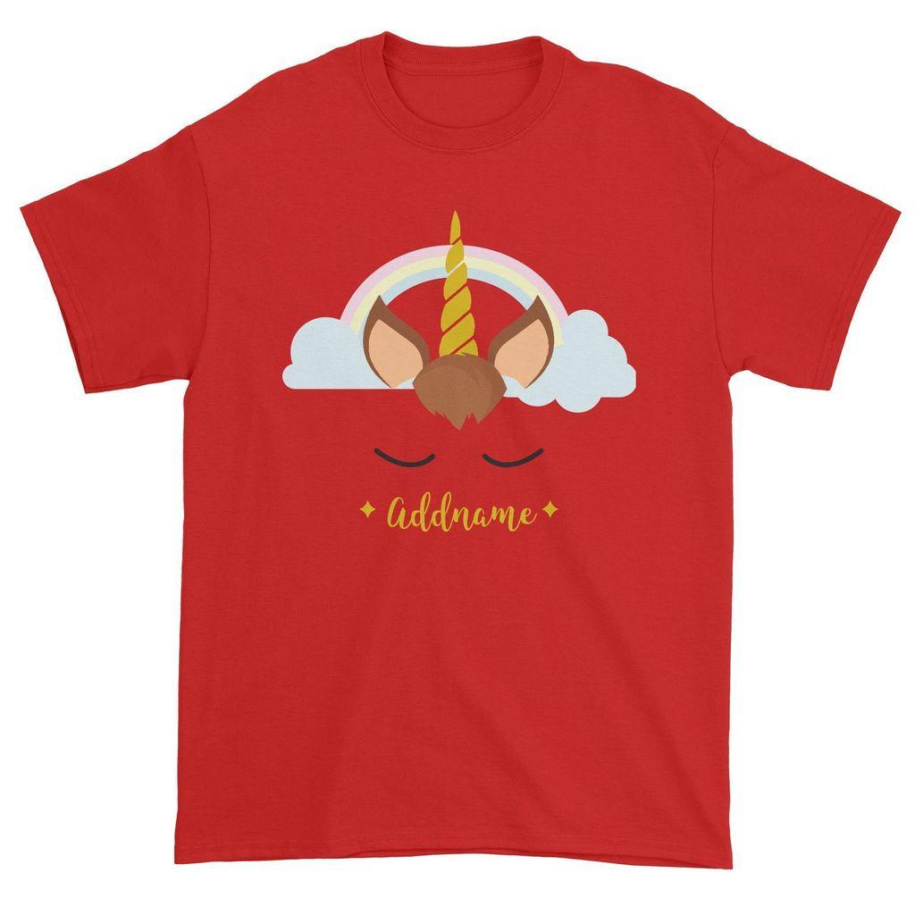 Unicorn Face Boy Addname Unisex T-Shirt Matching Family Red.jpg
