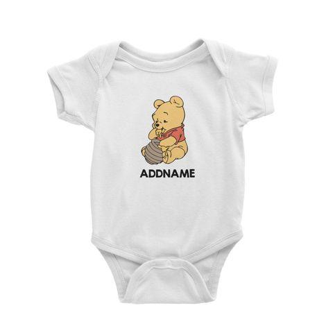 Winnie the Pooh and Honey Personalised Cartoon White Baby Romper.jpg