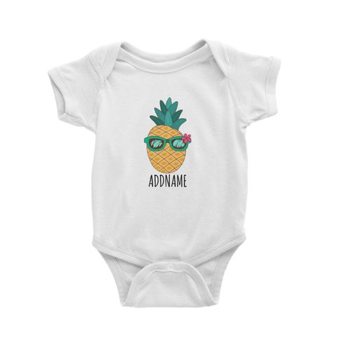 Cartoon Cool Green Sunglasses Pineapple White White Baby Romper.jpg