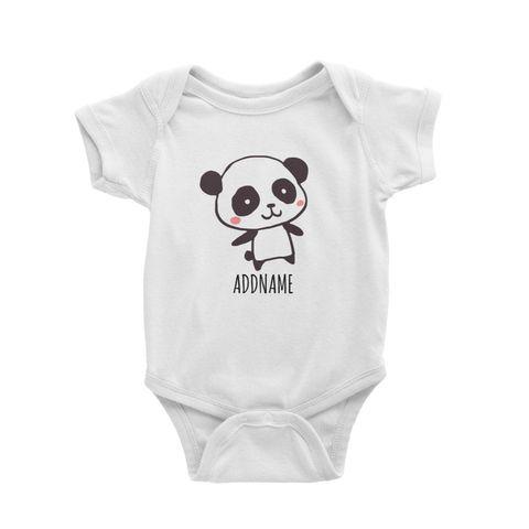 Cartoon Kawaii Panda Doodle White White Baby Romper.jpg