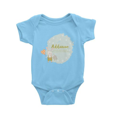 Cute Boy Rabbit with Heart Balloon Personalizable with Name and Text Baby Romper blue.jpg