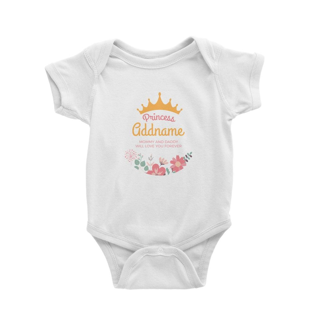 Princess with Tiara and Flowers 2 Personalizable with Name and Text Baby Romper white.jpg
