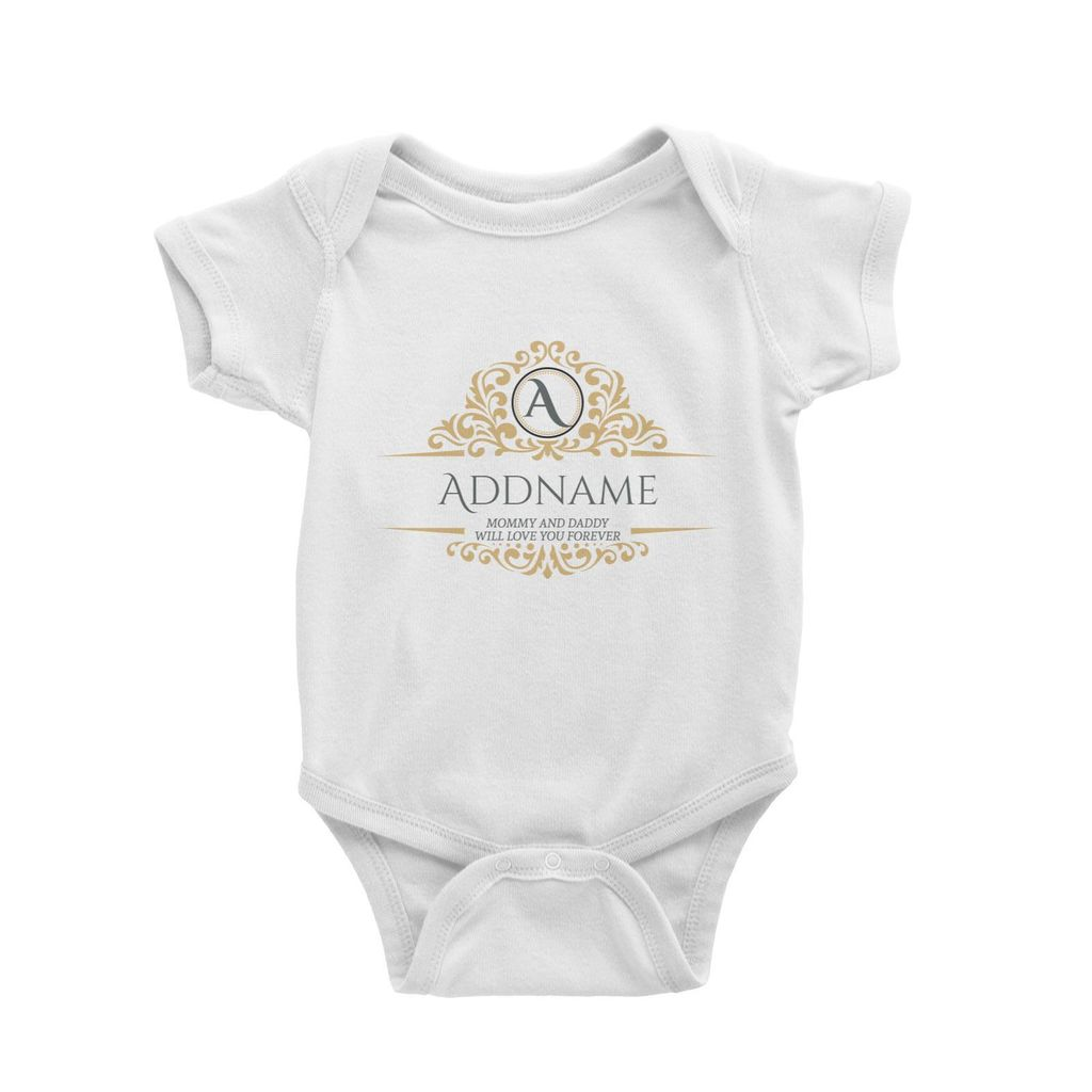 Royal Emblem Personalizable with Initial Name and Text Baby Romper wjite.jpg