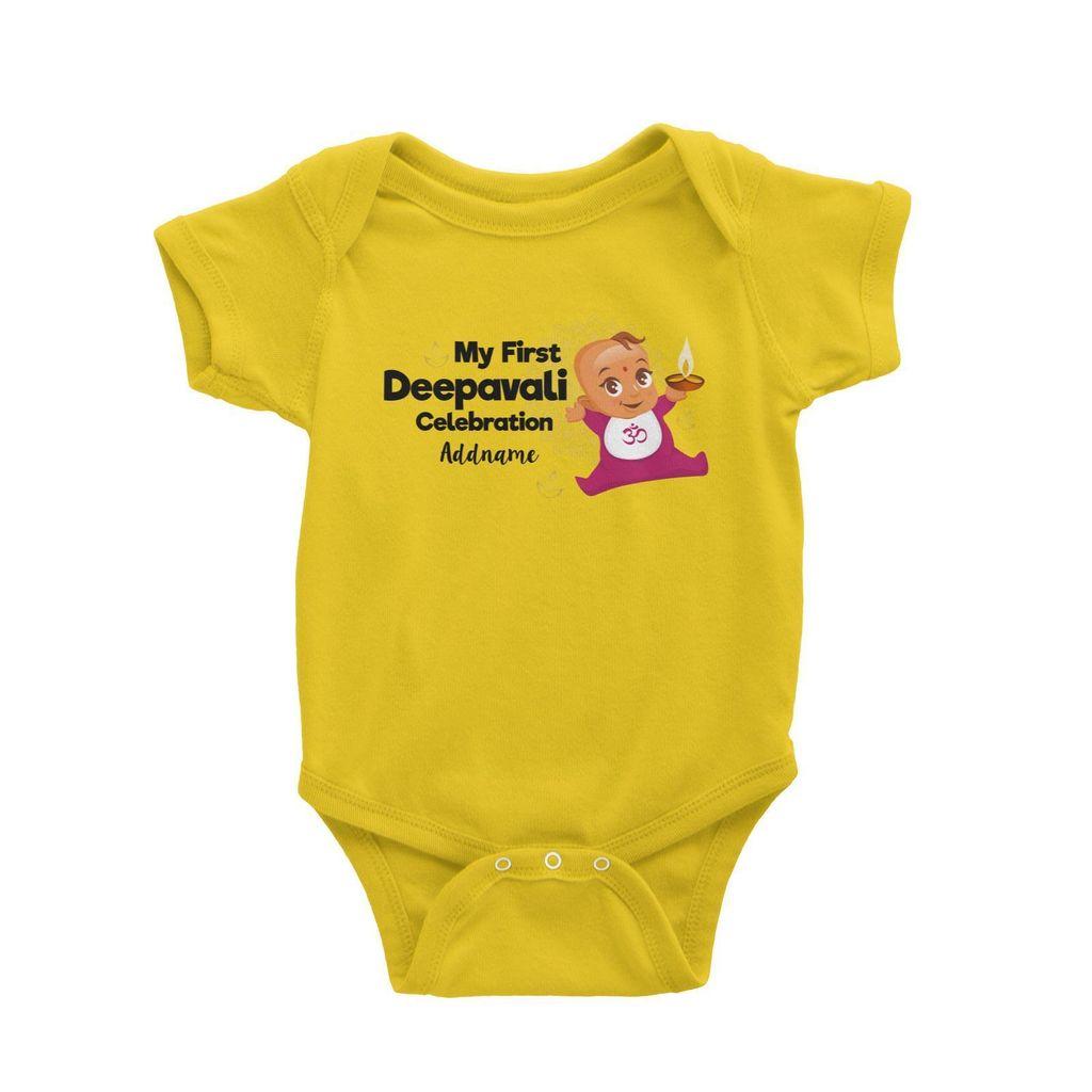 Cute Baby My First Deepavali Celebration Addname Baby Romper yellow.jpg