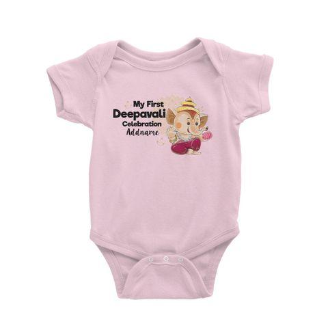 Cute Ganesha My First Deepavali Celebration Addname Baby Romper Light Pink.jpg