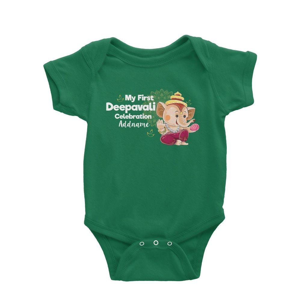 Cute Ganesha My First Deepavali Celebration Addname Baby Romper Green.jpg