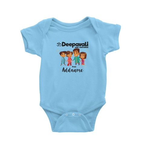 Cute Family Of Four OM Deepavali From Addname Baby Romper Light Blue.jpg