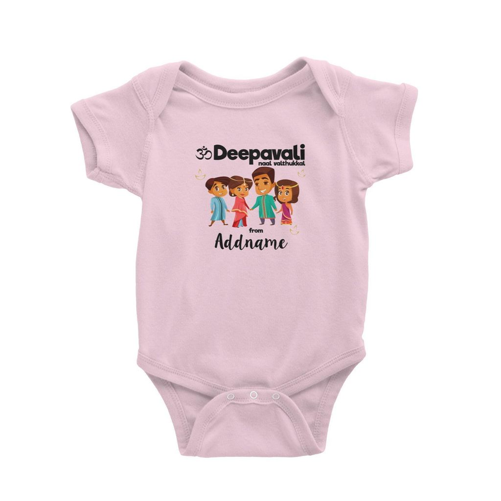 Cute Family Of Four OM Deepavali From Addname Baby Romper Light Pink.jpg
