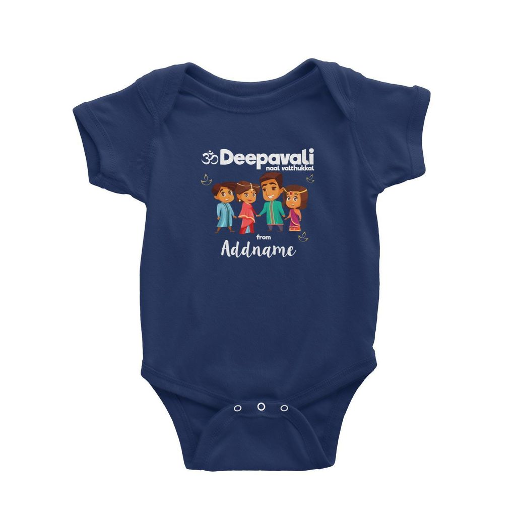 Cute Family Of Four OM Deepavali From Addname Baby Romper Navy.jpg