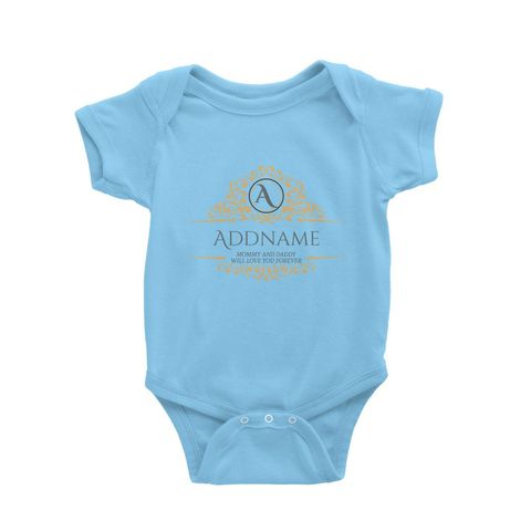 Royal Emblem Personalizable with Initial Name and Text Baby Romper light blue.jpg