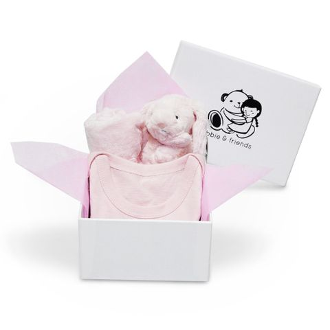Pink Bunny Soother, Baby Pink Romper.jpg