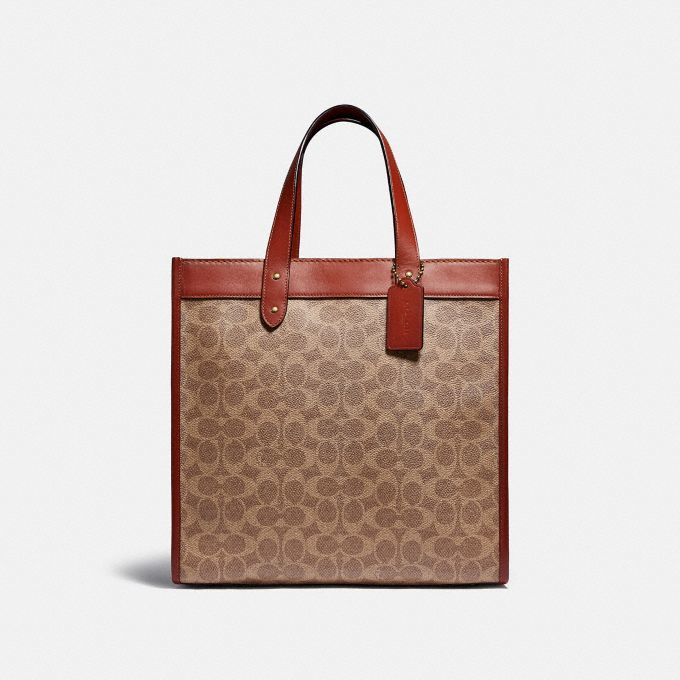 Coach Field Tote In Signature Canvas With Horse And Carriage Print C0776