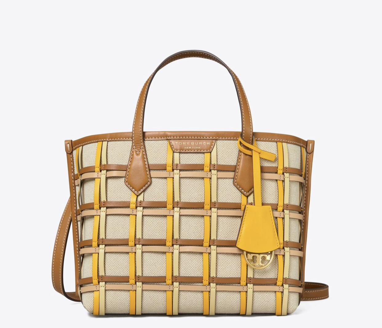 Tory Burch Perry Woven Cage Small Triple Compartment Tote