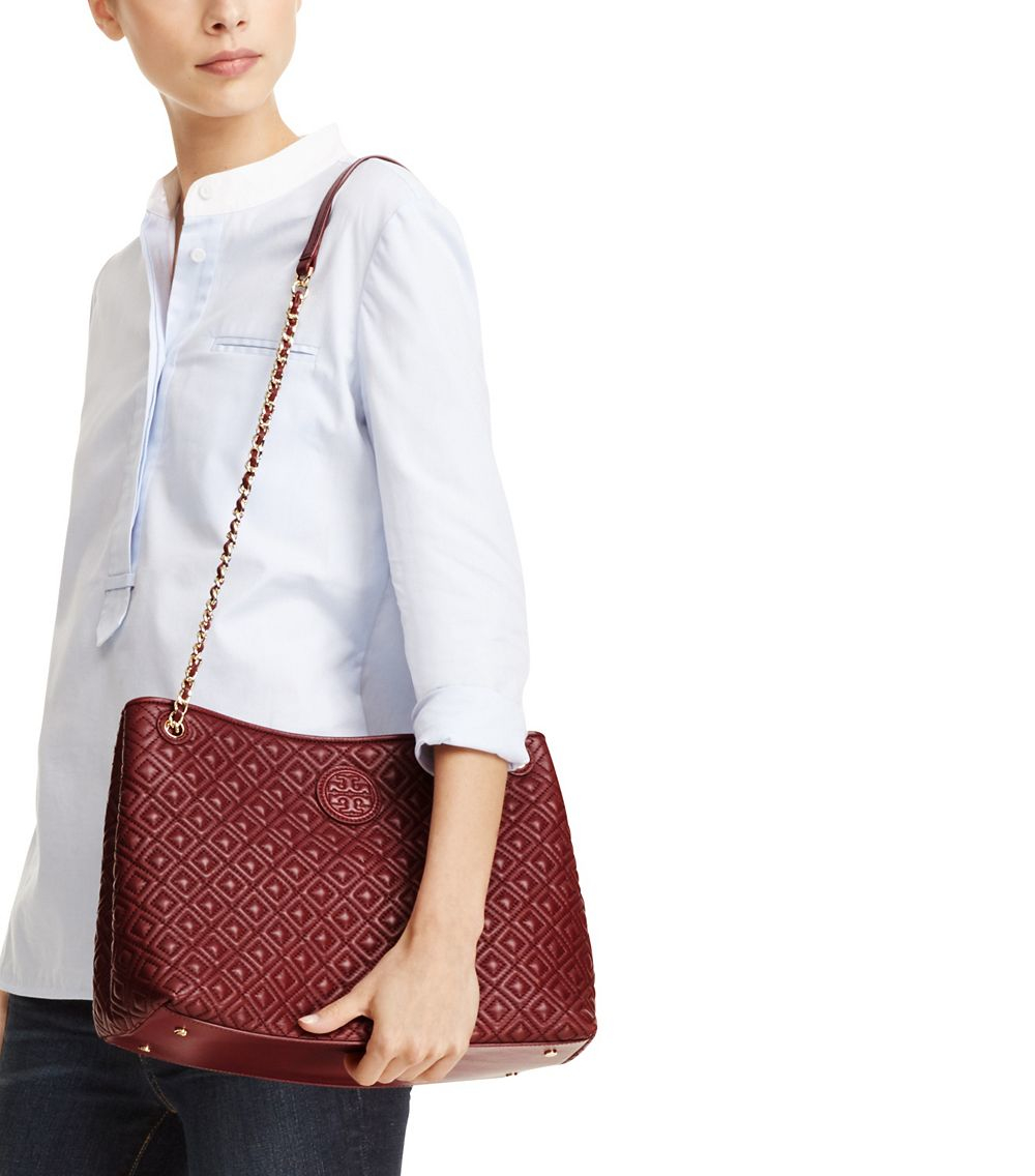 Tory Burch Marion Quilted Leather Tote Marvellous Paradise