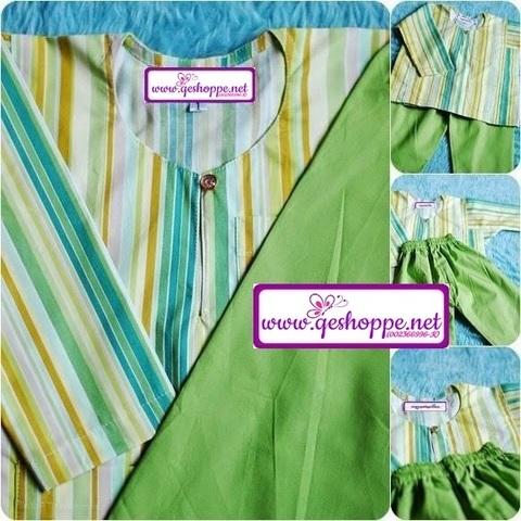 Baju Melayu Teluk Belanga English Cotton Kanak-kanak Green Apple Multistripe.jpg