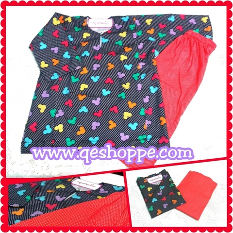 Baju Kurung Johor Kanak-kanak English Cotton Dark Blue Mickey with Red Pin Polka-dot Skirt.jpg