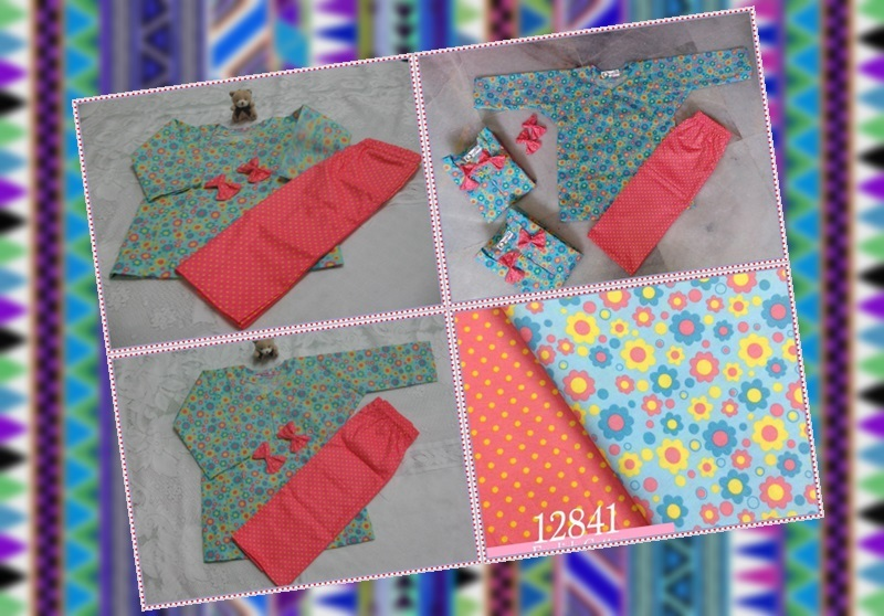 Baju Kurung Kanak-kanak English Cotton Green Turquoise Sunflower and Polka Dot Orange Yellow With Hairclips.jpg