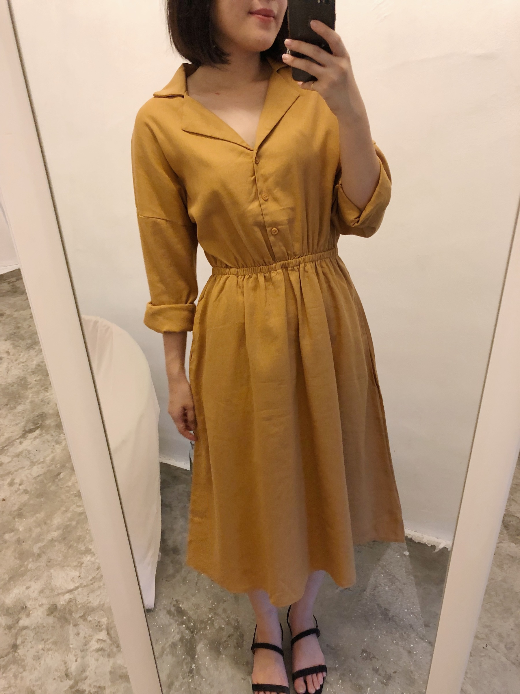 06bf10bf4e Premium Collar Linen Dress (Mustard) – Kissis Closet   Malaysia ...