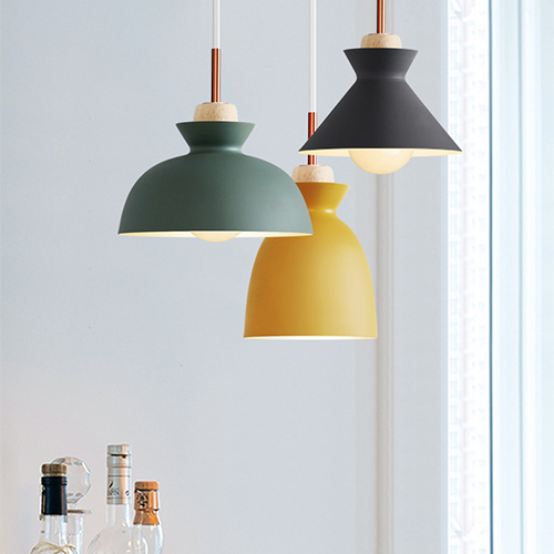 Regina Nordic Pendant Light With Rose Gold And Wood Holder