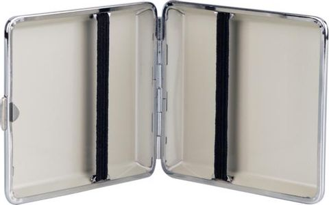 Cigarette case leatherette chrome frame Croco 20 cigs with rubber band in single(606633)#2.jpg