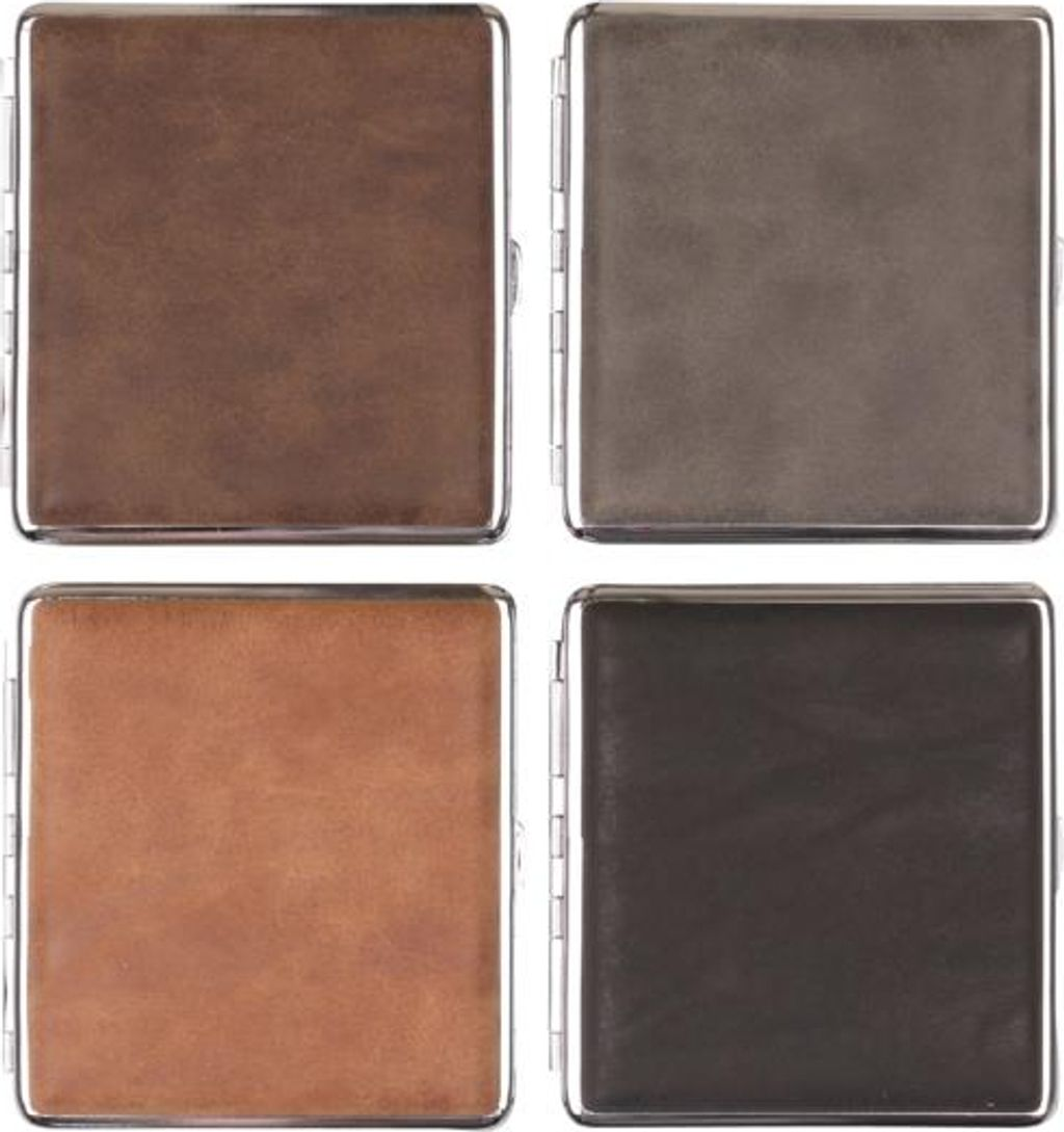 Cigarette case leather look chrome frame 20 cig with rubber band (606643)#1.jpg