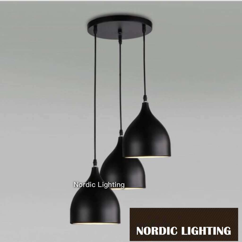 Set of 3 black decorative ceiling light nordic lighting for Best place to buy lighting