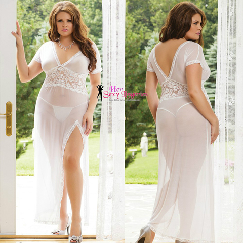 PYS30WH Plus Size Lace Long Dress Nightwear Lingeries Sexy. (White).jpg