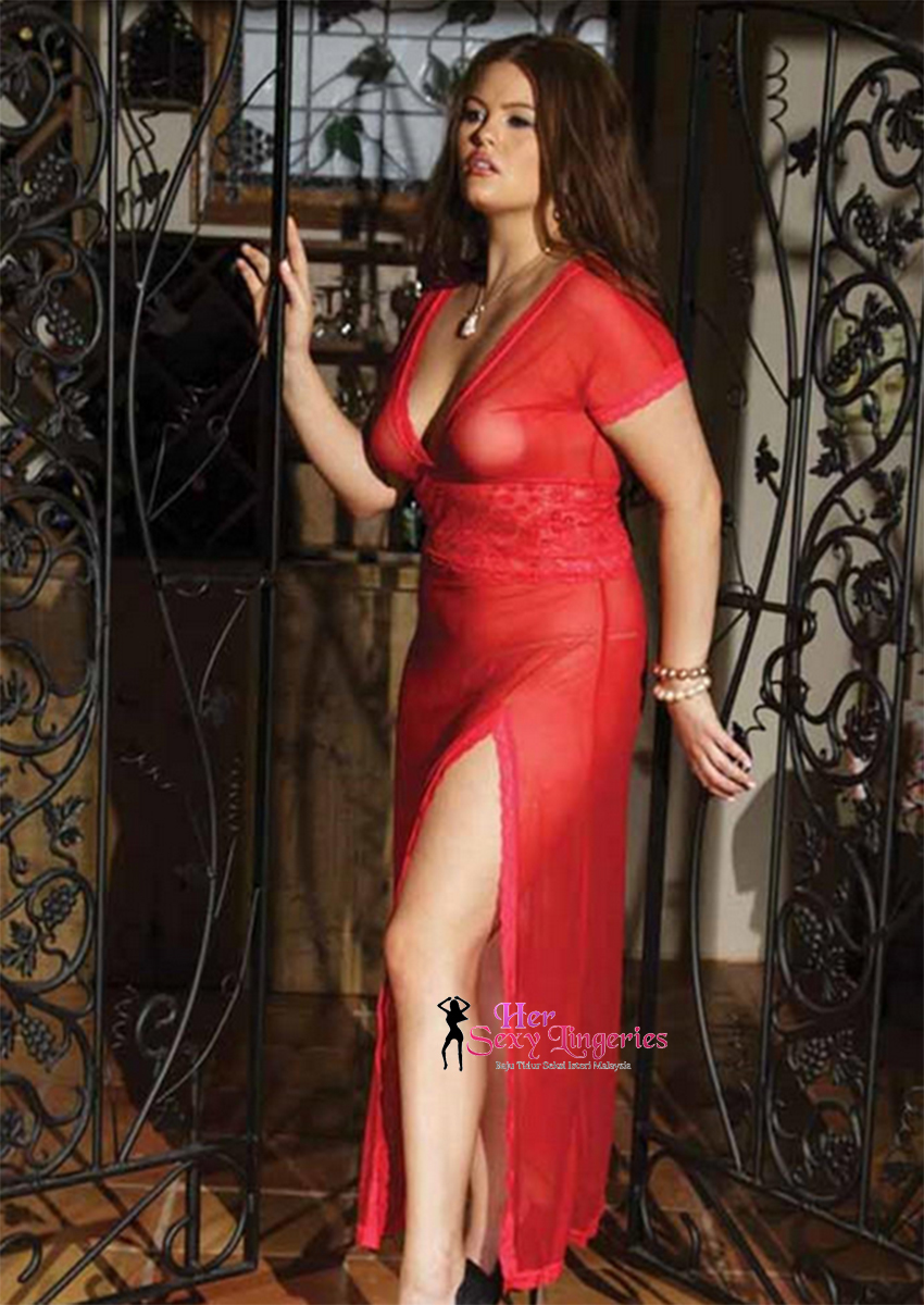 PYS30RD Plus Size Lace Long Dress Nightwear Lingeries Sexy.jpg