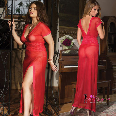 PYS30BK Plus Size Lace Long Dress Nightwear Lingeries Sexy 1a.jpg